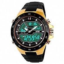 SKMEI 1016 Waterproof Men 2 Time Zone Digital & Analog LED Back Light rubber Quartz-Watch