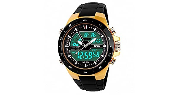 Amazon.com: Relojes de Hombre 2018 Sport LED Digital Military Water Resistant Watch Digital Men RE0033 (GOLD): Watches