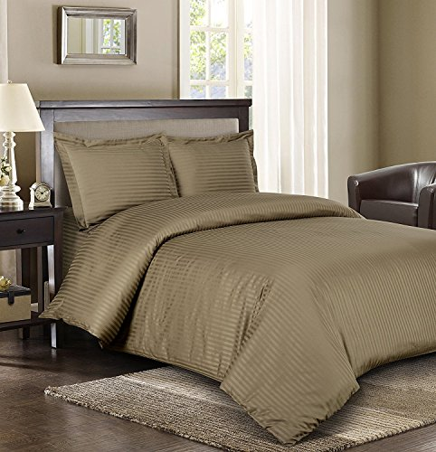 Royal Hotel Stripe Taupe 3pc King/California-King Comforter Cover (Duvet Cover Set) 100-Percent Cotton, 600-Thread-Count, Sateen Striped - King Taupe Stripe