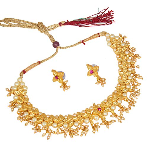 bodha Traditional Indian Temple Gold Jewelry Necklace Set 22K with Earrings for Women & Girls (SJ_2682) ()