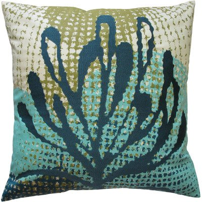 Koko Ecco Leaf Print and Embroidery Cotton Pillow, 20 by 20-Inch, Blue ()