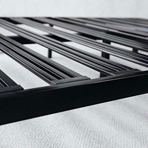 "Mellow Rocky Base E 14"" Platform Bed Heavy Duty Steel Black, w/ Patented Wide Steel Slats (No Box Spring Needed) - Full"