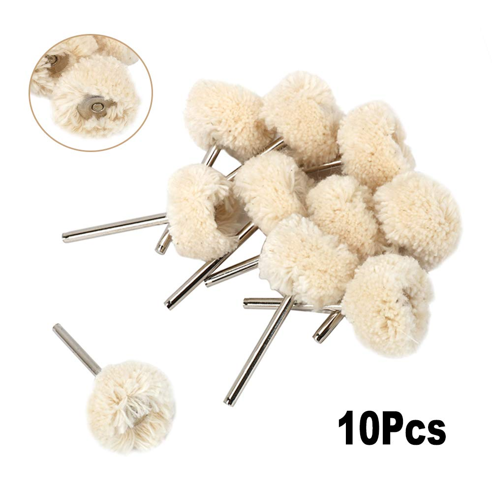 Mounted Cotton Polishing Wheel Sets with 1//8 Shank Buffing Pad Brush Drill Bit Rotary Tools for The Processing and Polishing of Various Mold Surfaces and Cavities and Jewellery 10Pcs