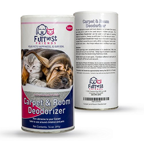 Furriest Friends Carpet and Room Deodorizer - Pet Odor Eliminator Neutralizer - Pet Safe - Environmentally Friendly - Odor Remover - Natural Non-Abrasive Powder