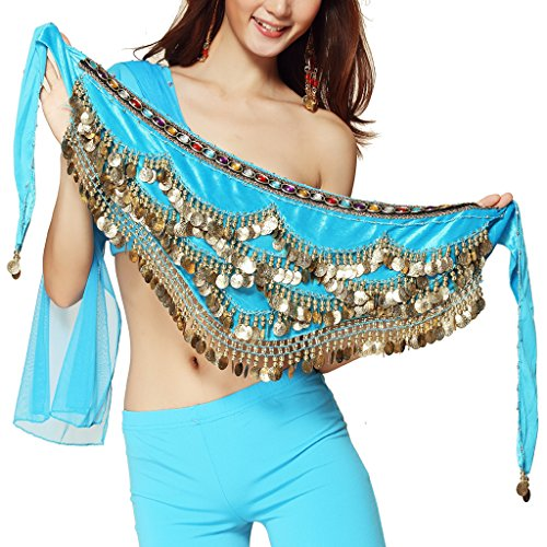 Pilot-trade Women's Triangular Belly Dancing Hip Scarf Wrap Skirt with Gold Coins Light -