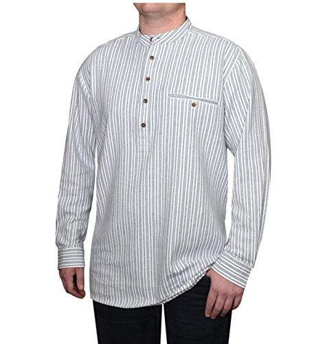 Lee Valley - Genuine Irish Striped Cotton Flannel Grandfather Shirt - Men's (Medium, Blue/Ivory -