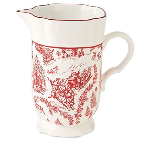 Toile Ceramic (Mud Pie 4551024 Toile Pedestal Ceramic Pitcher, Red)