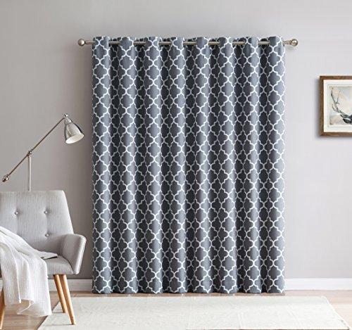 HLC.ME Lattice Print Thermal Grommet Room Darkening Blackout Patio Door Curtain for Sliding Glass Door - Grey - 100