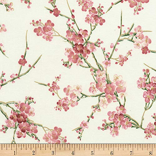 (Timeless Treasures 0561302 Metallic Sakura Blossom Cream Fabric by The Yard,)