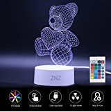 3D LED Lamp Night Light - ZNZ 7 Colors USB Operated Table Dimmable Night Light with Touch Switch Remote Control for Kids Adults, 3D Lights Optical Illusions Desk Lamp for Room Decor (Teddy Bear)