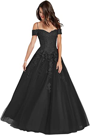 Sunningzoebo Off The Shoulder Cold Shoulder Beaded Prom Ball Gown Appliques A Line Quinceanera Prom Dresses For Girls At Amazon Women S Clothing Store
