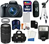 Canon EOS Rebel T5i D-SLR Camera with EF-S 18-55mm f/3.5-5.6 IS STM Lens + Canon Zoom Telephoto EF 75-300mm f/4.0-5.6 III Autofocus Lens + 64GB Card + Case + Spare Battery + Flash + Tripod + Accessory Kit