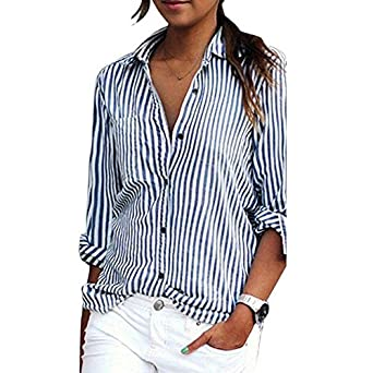 e50cbb7f Women Striped Long Sleeve Shirt Turn-Down Collar Loose Blouse at Amazon  Women's Clothing store: