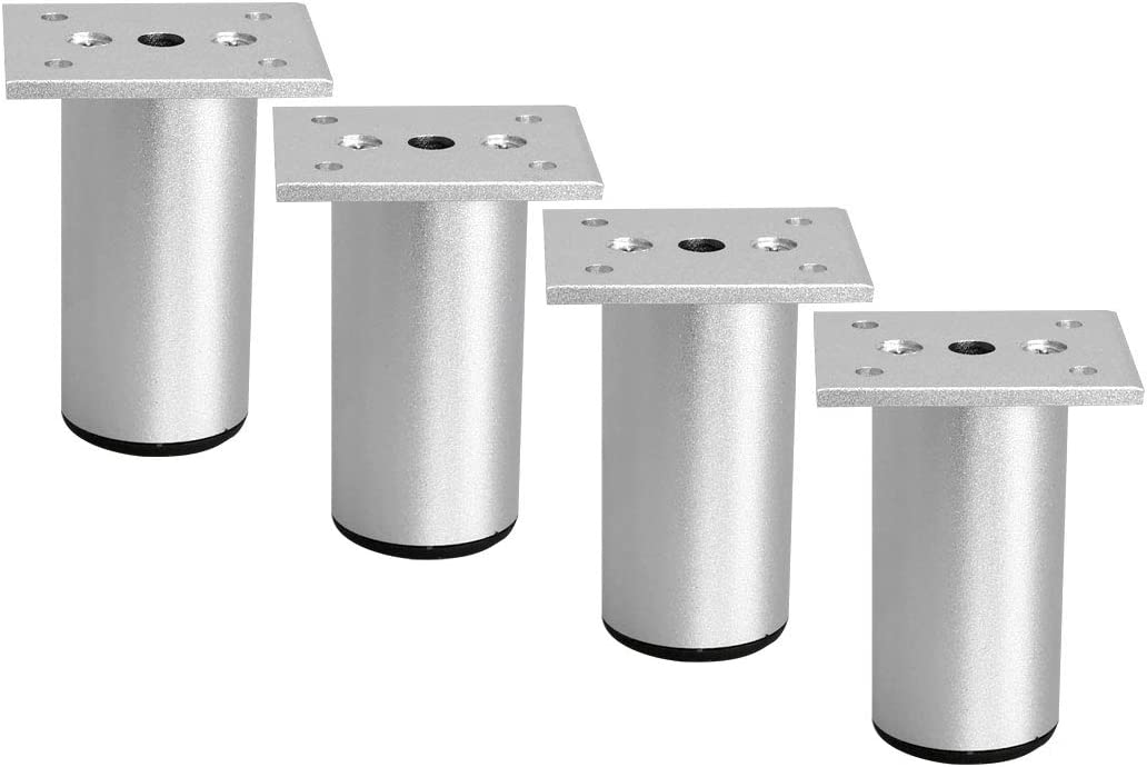 uxcell 3 Inch Round Furniture Legs Aluminium Alloy Sofa Couch Table Cabinet Wardrobe Worktop Shelves Feet Replacement Height Adjuster Set of 4