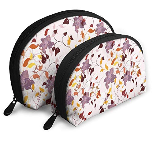 2pcs Flower Colorful Leaf Poison Ivy Cosmetic Bag Travel Makeup Pouch Bag Portable Shell Makeup Bag Clutch Toiletry Pouch with Zipper -