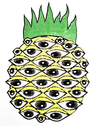 Nipitshop Patches Size Big Jumbo Pineapple Devil Eye Pineapple Sequin Shine Shiny Embroidery Iron On Patches Clothing T-Shirt Jeans Bags Polo Shirt Hat Backpacks Sewing DIY Appliques Patches