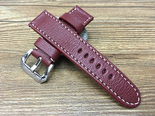 Handmade Leather watch strap | 24mm Vintage Blue watch band | Leather watch band | Brandy Red Leather watch strap for Panerai watch (Strap Brandy)