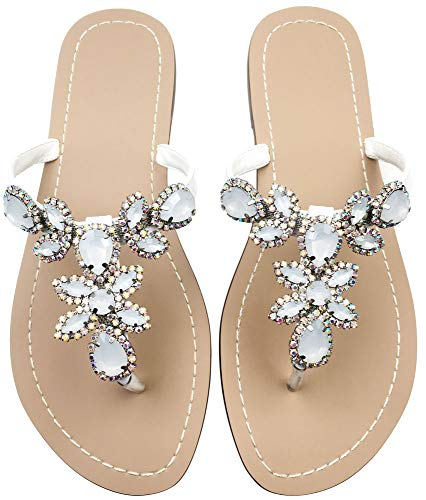 Hinyyrin Women's Rhinestone Sandals, Bohemia Flat Sandals, Low Heel Flip Flop, Jeweled Sandals White Size 8.5 -