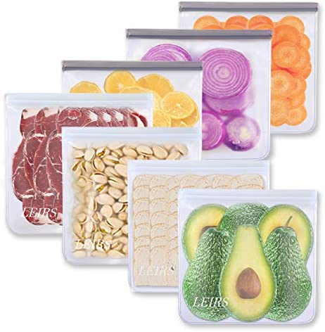 Reusable Gallon Freezer Bags - 7 Pack Gallon Food Storage Bags, Reusable Storage Bags, Leakproof & Food Grade PEVA Lunch Bags for Food Marinate Meat, Fruit Cereal, Sandwich, Snack, Travel Items