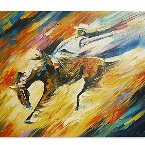 - Original Oil Painting - Impression 100% Hand-Painted Horse Riding Abstract Artwork Wall Decor for Home Office, Ready to Hang