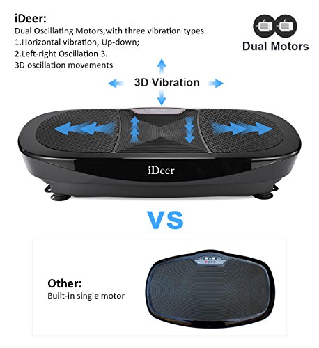 iDeer Vibration Platform Fitness Vibration Plates,Whole Body Vibration Exercise Machine w/Remote Control &Bands,Anti-Slip Fit Massage Workout Vibration Trainer Max User Weight 330lbs (Black09008) by IDEER LIFE (Image #2)