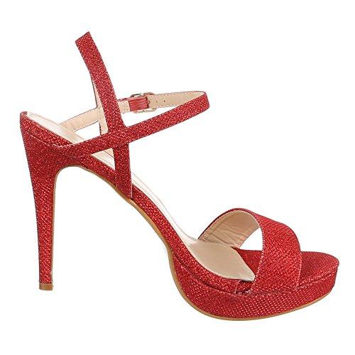 Ital-Design Damen Schuhe, DM4G-2, Sandaletten High Heels Plateau Pumps Rot