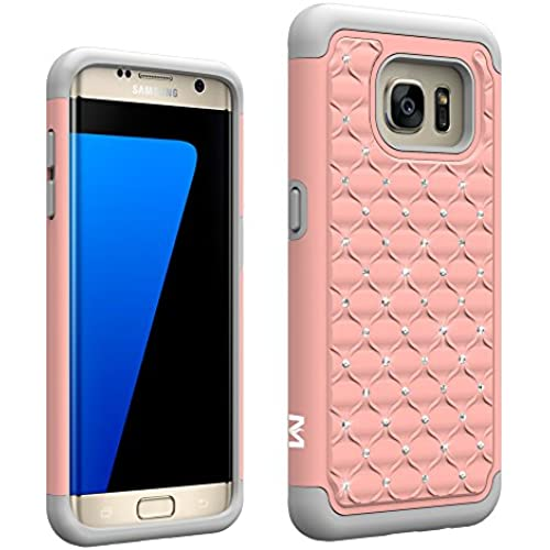 S7 Edge Case, MagicSky [Shock Absorption] Studded Rhinestone Bling Hybrid Dual Layer Armor Defender Protective Case Cover for Samsung Galaxy S7 Edge (Rose Sales