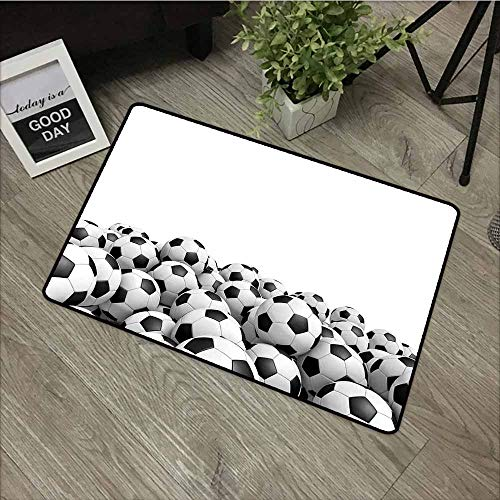 - LOVEEO Crystal Velvet Doormat,Sports Decor Illustration of Soccer Ball Championship Tournament Stadium Exercise,Anti-Slip Doormat Footpad Machine Washable,20