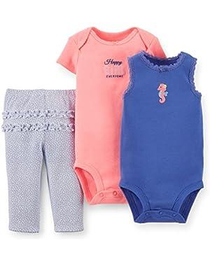 Baby Girls 3 Piece Bodysuit & Pant Set (Seahorse)