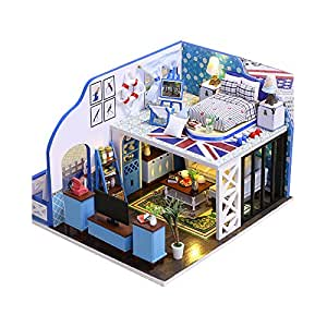 BEAUTY'S CASTLE DIY Village Wooden Dollhouse LED Lights Miniature Assembly Furniture Kit 3D Puzzle Crafts Toy And Wooden Frame For Creative Kid Birthday Gifts