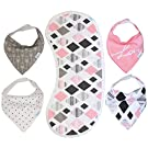 Bandana Bib - Best Baby Bandana Drool Bibs for Girls - Premium Burpy Bib and Drool Cloth Made by Moms for Moms