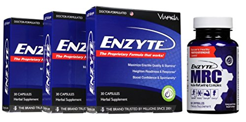 Enzyte Male Enhancement Supplement + MRC Muscle Booster Testosterone Support | Asian Ginseng Root, Horny Goat Weed, Ginkgo Biloba, etc.- 3 Months (90 Enzyte Capsules) + 1 Month (60 MRC Capsules) by Enzyte