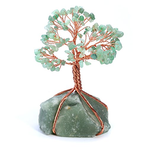 nturine Quartz Gem Stone Money Tree Wealth Ornament Natural Green Crystal Tree of Life Office Living Room Table Decoration Good Luck Health Figurine Gift ()