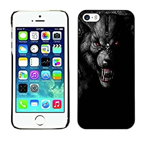 Jordan Colourful Shop - Angry Fangs Werewolf Full Moon For iPhone 5 / 5S Custom black plastic Case Cover