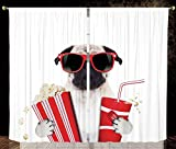 2 Panel Set Satin Window Drapes Kitchen Curtains,Pug Going to the Movies Pug Dog Popcorn Soft Drink Movie Star Glasses Animal Fun Image Decorative Cream Red Black,for Bedroom Living Room Dorm Kitchen
