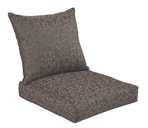Cushions Bench Garden (Bossima Indoor/Outdoor Black/Gold Damask Deep Seat Chair Cushion Set,Spring/Summer Seasonal Replacement Cushions.)
