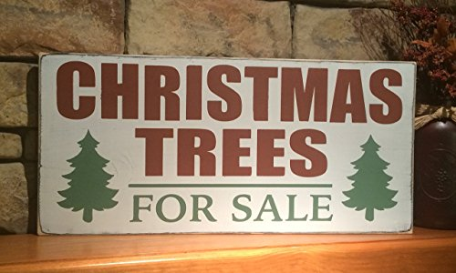 Handmade Distressed Wooden Sign Christmas Trees for (Sign Pole Decorative Bases)