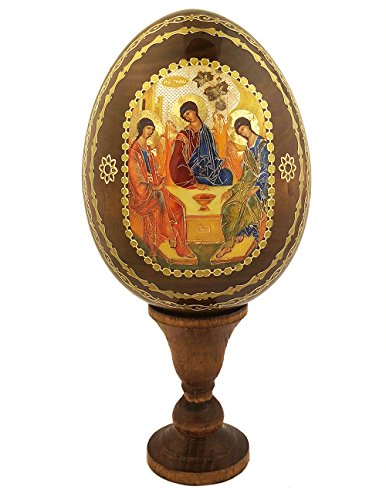 Religious Gifts Three Angels Holy Trinity Wooden Russian Icon Egg 6 1/4 Inch