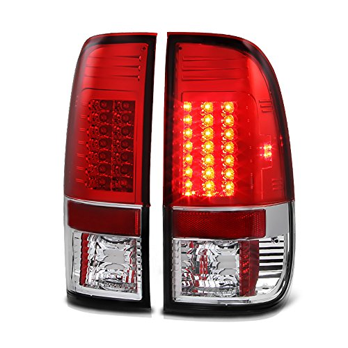 Led Euro Lamps Tail Lights ([For 2008-2016 Ford Superduty F-250 F-350 F-450 Pickup Truck] VIPMOTOZ Premium LED Tail Light Lamp - Rosso Red Lens, Driver & Passenger Side)
