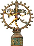 Nataraja (Pedestal Decorated with Dancing Shiva and Parvati) - Brass Statue