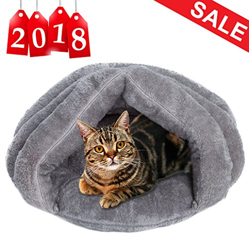 Plush Cat Bed Soft Pet Bed for Winter Cozy Sleeping Bag for Dogs Warm Puppy Bed Small Animals Cat Cave (Sleeping Bags For Dogs)