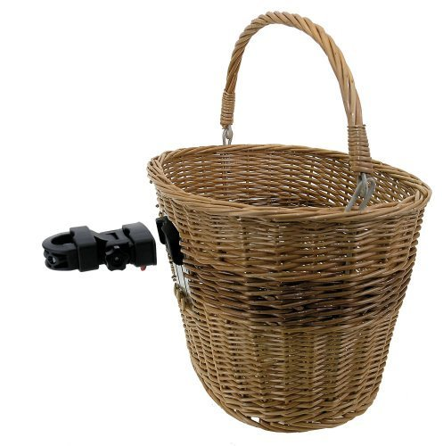 M-Wave Wicker Bicycle Basket With Clip-on Bracket by Mighty