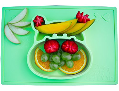 Silicone placemat and Baby Plate Tray for Infants Toddlers and Kids - These Portable Hippo Happy mats one Piece Bowl suctions and fits to Most Tables highchair Non Slip Baby Feeding FDA Approved ()