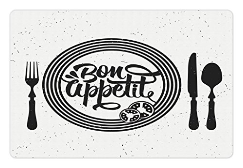 (Lunarable Bon Appetit Pet Mat for Food and Water, Cutlery and Utensils with Tomato Slices Monochrome Grunge Words, Rectangle Non-Slip Rubber Mat for Dogs and Cats, Charcoal Grey and White )
