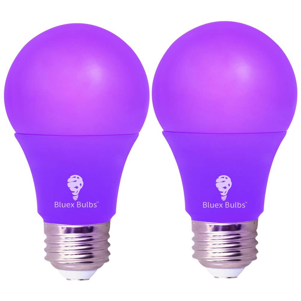 2 Pack BlueX LED A19 Purple Light Bulb - 6W (50Watt Equivalent) - Dimmable - E26 Base Purple LED Purple Bulb, Party Decoration, Porch, Home Lighting, Holiday Lighting, Decorative Illumination