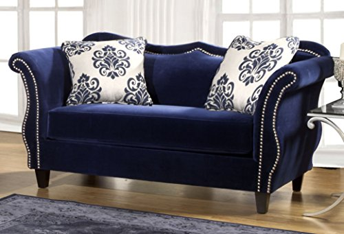 Furniture of America Athena Glamorous Loveseat, Royal Blue For Sale