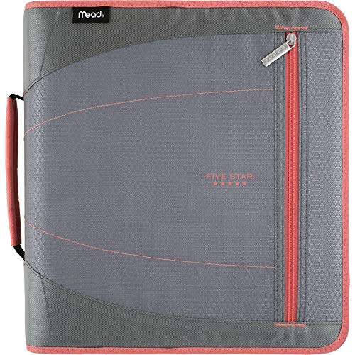 Five Star 2 Inch Zipper Binder, 3 Ring Binder, Removable File Folders, Durable, Gray/Bright Coral (29036IY8) (3 Ring Binder Zipper 2 Inch)