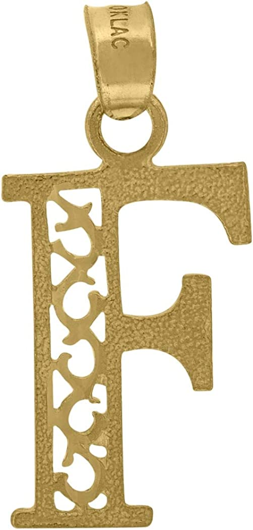 Measures 23x10.80mm Wide 10k Yellow Gold Unisex Initial Letter F Charm Pendant