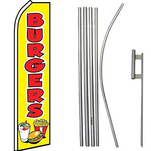 (ALBATROS Burgers Fries Shake Food Swooper Super Flag with 16ft Flagpole Kit Ground Spike for Home and Parades, Official Party, All Weather Indoors)
