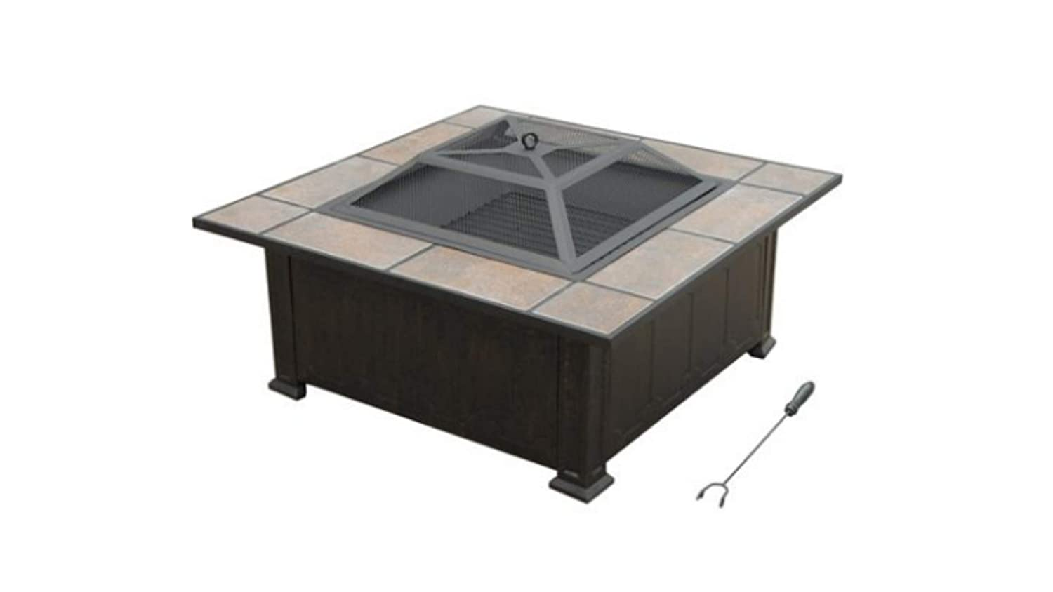 Axxonn Tuscan Ceramic Tile Top Fire Pit Black Antique Bronze Model Ft501ptesmlid Patio Lawn Garden Fire Tables